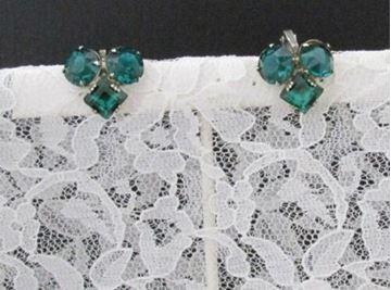 Picture of Sterling Silver Rhinestone Brooch & Clip-on Earrings Set