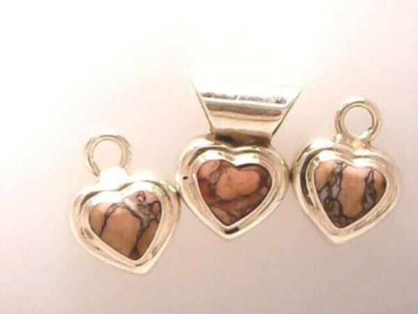 Picture of Sterling Silver Pink Rhodonite Pendant & 2 Charms