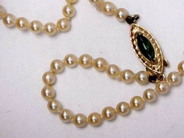 """Picture of 16"""" 14K Gold Green Clasp 4mm Pearl Necklace"""