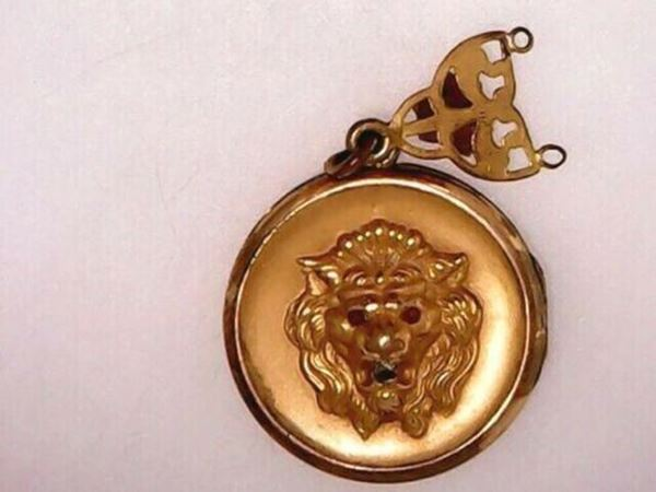 Picture of Rare 1800's Gold Filled Beaded Lion Locket