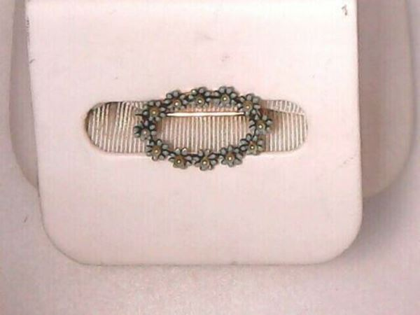 """Picture of 7/8"""" 1940's 14K Turquoise & Enamel """"Forget Me Not"""" Brooch"""