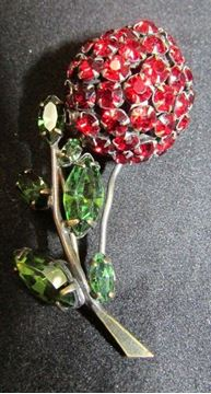 Picture of Red & Green Rhinestone Brooch - Schreiner NY #5