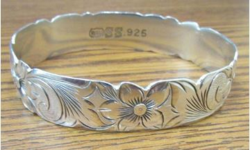 "Picture of 7 3/4"" Sterling Silver Hawaii Plumeria Flower Bracelet"