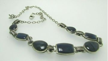 "Picture of 19"" Sterling Silver Agate Necklace"