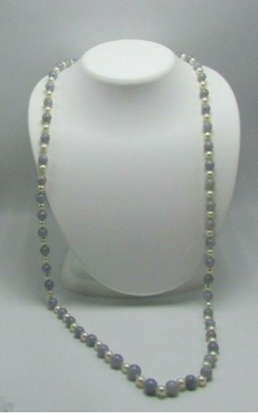 "Picture of 32 1/2"" Chalcedony Pearl Necklace w/ Sterling Silver Clasp"