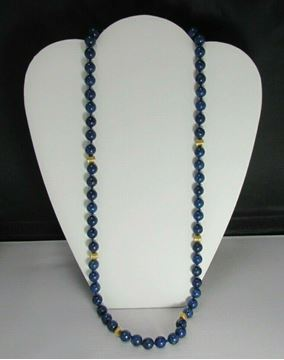 """Picture of 28"""" 6mm Lapis Lazuli Beaded Necklace w/ 14K Clasp"""