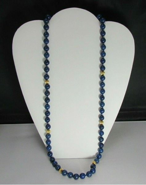 "Picture of 28"" 6mm Lapis Lazuli Beaded Necklace w/ 14K Clasp"