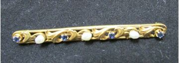 "Picture of 1 3/4"" 14K Natural Pearl & Sapphire Elongated Brooch"