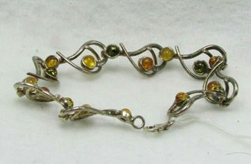 """Picture of 6 1/2"""" Sterling Silver Amber Bracelet"""