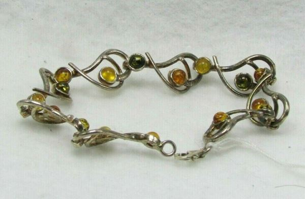 "Picture of 6 1/2"" Sterling Silver Amber Bracelet"