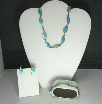 Picture of David Anderson Sterling Silver Enameled Necklace, Bracelet, Clip-on Earrings Set