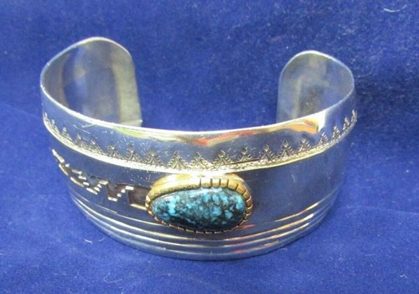Picture of Sterling Silver/14K & Turquoise Men's Cuff Bracelet