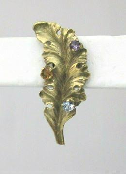 Picture of 14K Multi-Stone Leaf Pierced Earrings