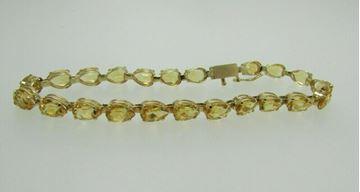 "Picture of 7.5"" 14K Pear Shaped Cut Citrine Bracelet"