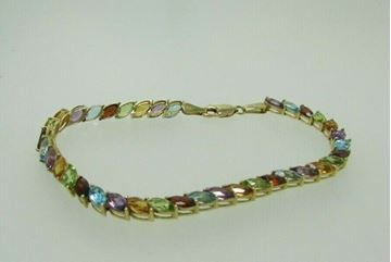 """Picture of 8"""" 14K Marquise Cut Multi-Stone Bracelet"""