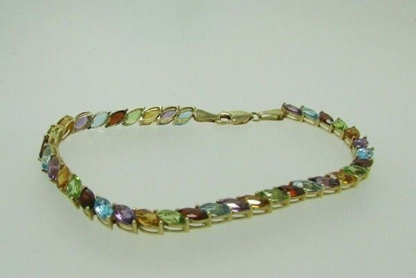 "Picture of 8"" 14K Marquise Cut Multi-Stone Bracelet"