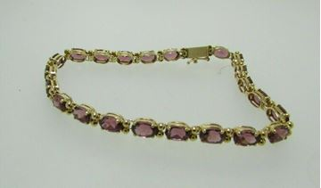 "Picture of 8"" 14K Pink Tourmaline Bracelet"