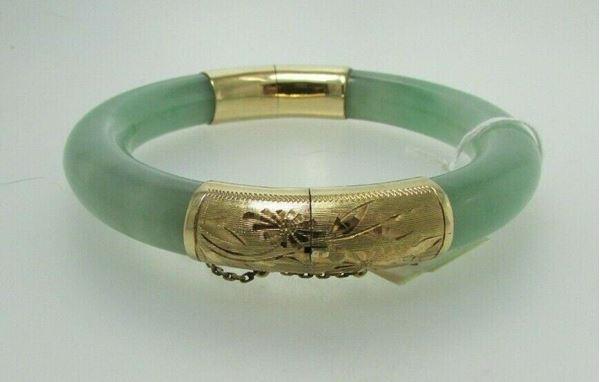 Picture of Floral Etched 14K Jade Bangle Bracelet