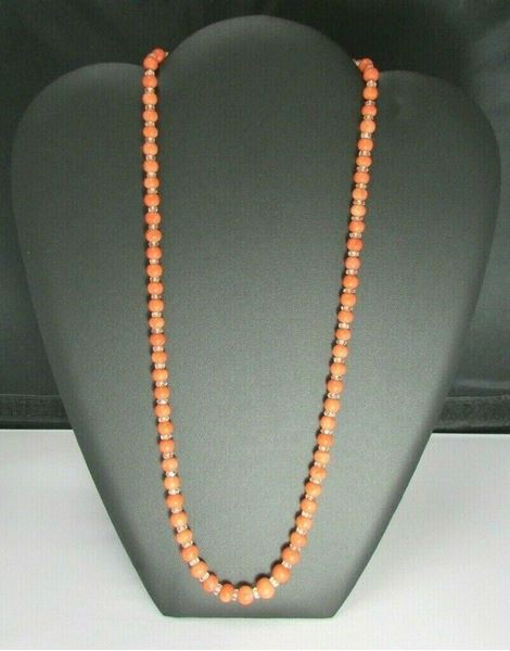 "Picture of 24"" 10K Coral Beaded Necklace w/ extra Coral Pieces"