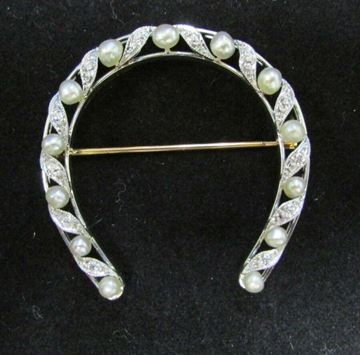 Picture of Platinum Pearl & Diamond Horseshoe Brooch