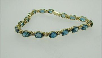 "Picture of 8"" 14K Blue Topaz & Diamond Bracelet"
