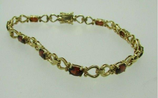 """Picture of 8.5"""" 14K Garnet w/ Double Latch Bracelet"""