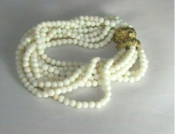 Picture of 1930's Art Deco 14K Clasp White Coral Multi-Strand Beaded Bracelet