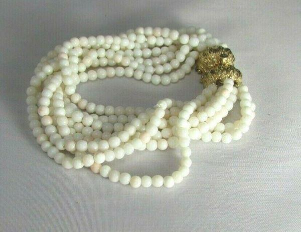 Picture of 1930's Art Deco 14K Clasp White Coral Multi-Strand Beaded Bracelet