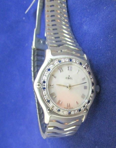 Picture of Ebel Mother of Pearl Diamond & Sapphire Stainless Steel Ladies Watch