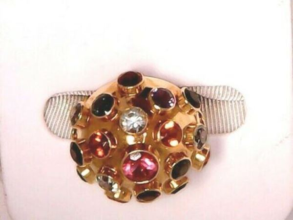 "Picture of 8"" Round 1960""s Sputnik 18K Multi-Stone Ring made in Germany"