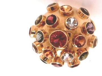 """Picture of 8"""" Round 1960""""s Sputnik 18K Multi-Stone Ring made in Germany"""