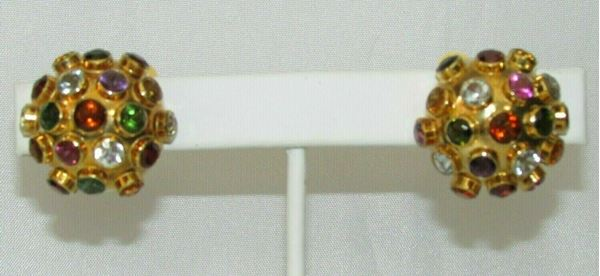 Picture of 1960's Sputnik 18K Multi-Stone Clip-on Earrings made in Germany