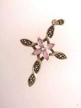 Picture of Sterling Silver Marcasite w/ Synthetic Stone Cross Pendant