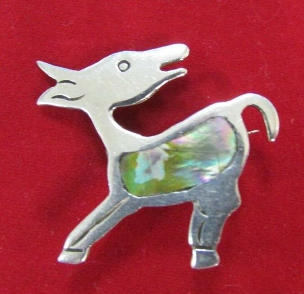 """Picture of 2 """"The Alpaca"""" Abalone Sterling Silver Brooch"""