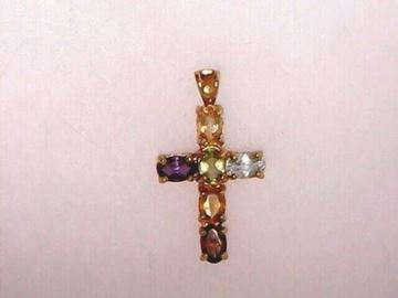 Picture of Sterling Silver Multi-Stone Cross Pendant