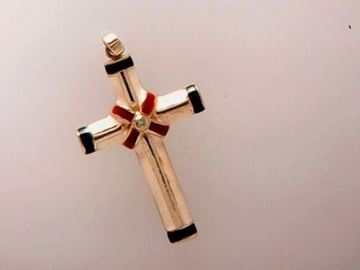 Picture of Sterling Silver Red White & Blue Enamel Cross Pendant