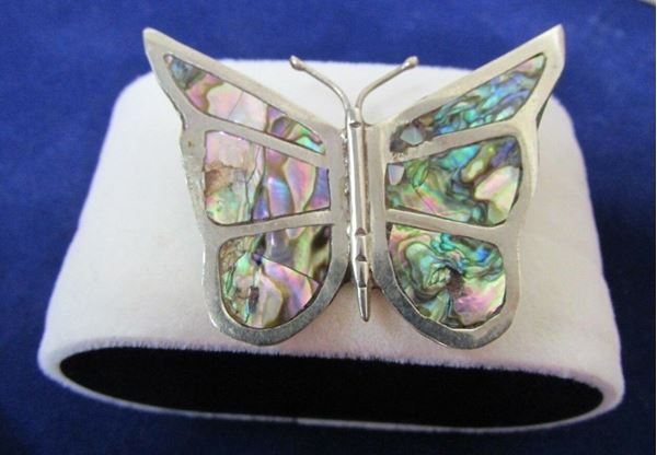 Picture of Sterling Silver Abalone Butterfly Brooch