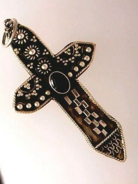 Picture of Sterling Silver Black Onyx Cross Pendant
