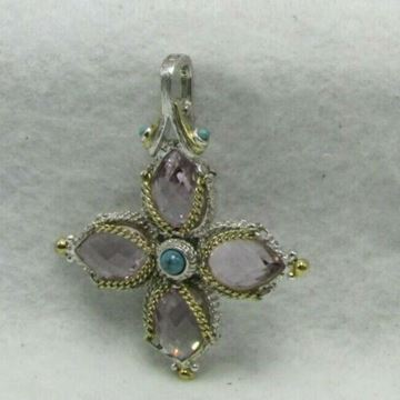 Picture of Sterling Silver Synthetic Stone  Cross Pendant