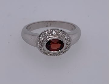 Picture of 14K Garnet and Diamond Ring