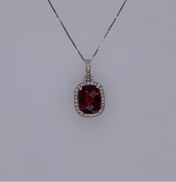 Picture of 14K Diamond and Garnet Necklace