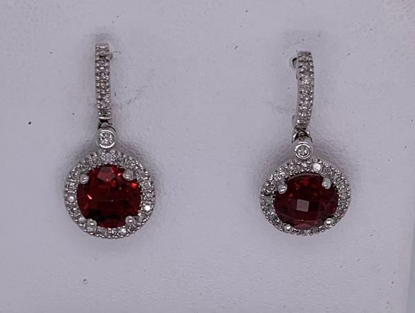 Picture of 14K Garnet and Diamond Earrings