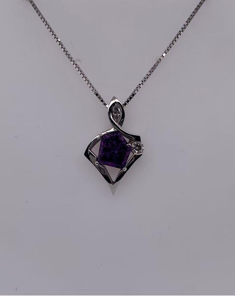 Picture of 14K Custom Amethyst & Diamond Pendant