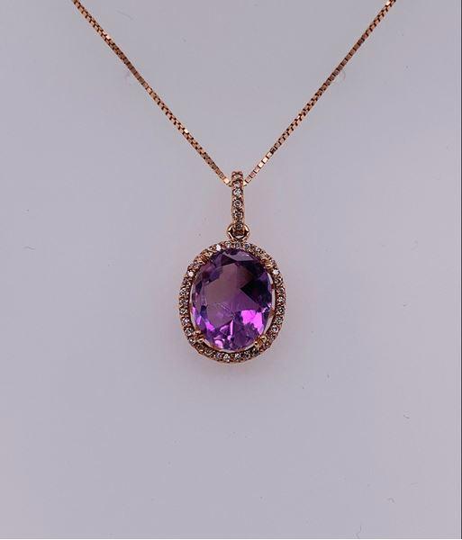 Picture of 14K Rose Gold Amethyst & Diamond Pendant