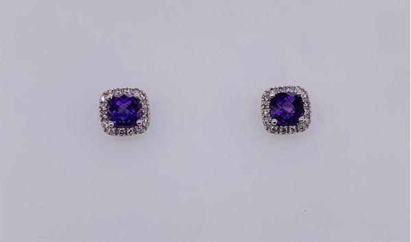 Picture of 14K Amethyst & Diamond Stud Earrings