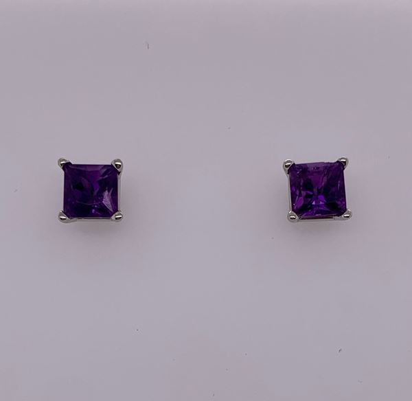 Picture of 14K Princess Cut Amethyst Stud Earrings