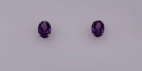 Picture of 14K Amethyst Oval Stud Earrings