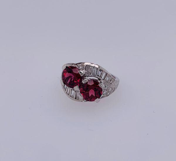 Picture of Platinum Diamond & Garnet Ring
