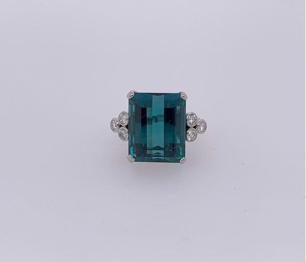 Picture of Platinum Tourmaline & Diamond Ring